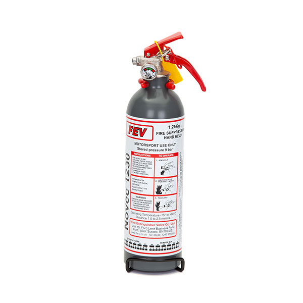FEV f-TEC1250HH Gas Handheld Race Car Fire Extinguisher - 1.25kg Silver/Grey