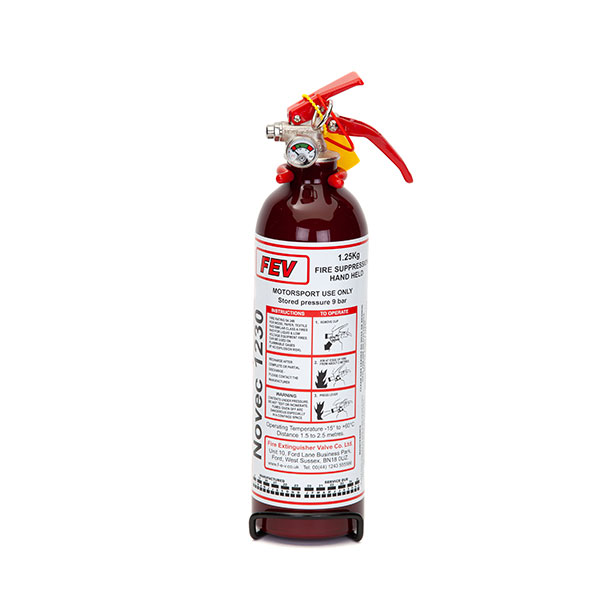 FEV f-TEC1250HH Gas Handheld Race Car Fire Extinguisher - 1.25kg Dark Red
