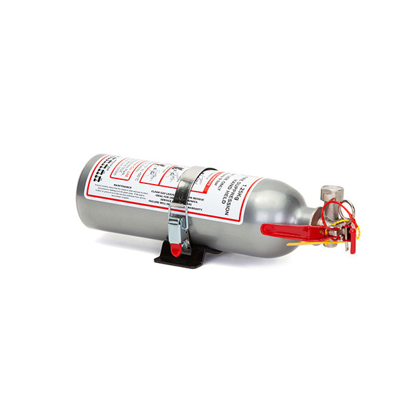FEV f-TEC1250HH Gas Handheld Race Car Fire Extinguisher - 1.25kg Silver With Fixing