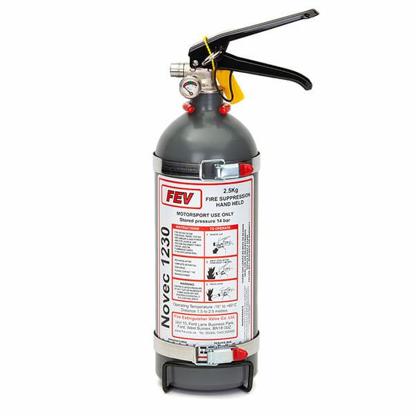 FEV f-TEC2500HH Gas Handheld Race Car Fire Extinguisher - Grey 2.5kg