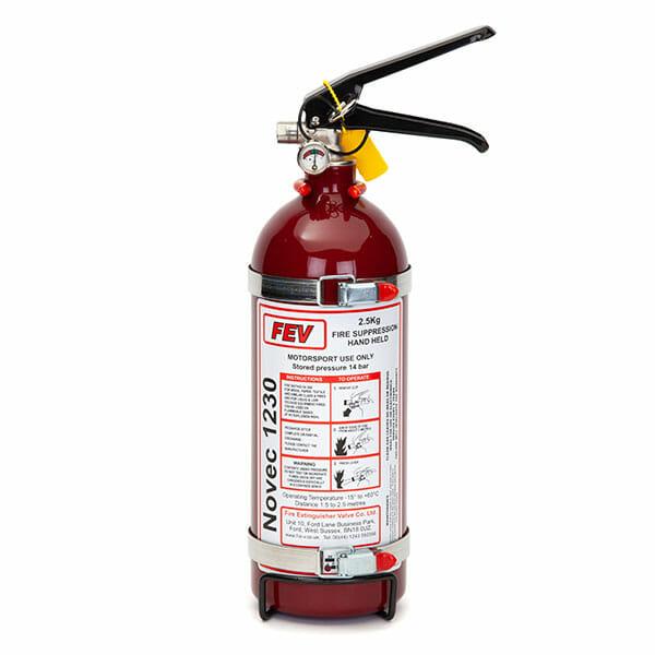 FEV f-TEC2500HH Gas Handheld Race Car Fire Extinguisher - 2.5kg Red