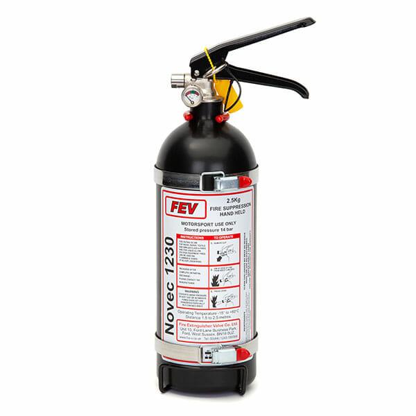 FEV f-TEC2500HH Gas Handheld Race Car Fire Extinguisher in Black - 2.5kg Black