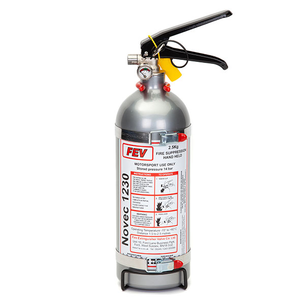 FEV f-TEC2500HH Gas Handheld Race Car Fire Extinguisher - 2.5kg Silver