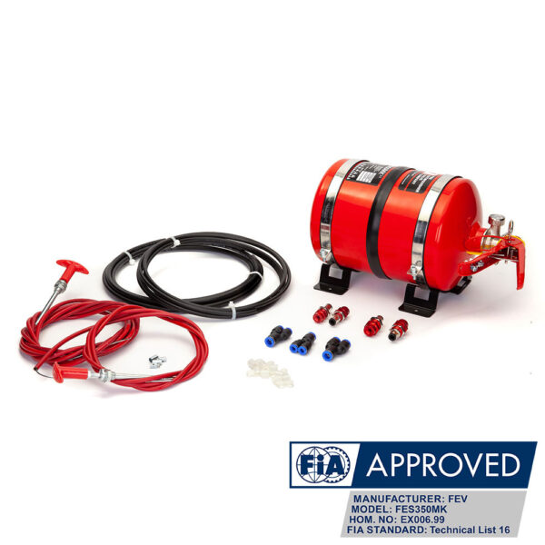 FEV 3.5L Mechanical Plumbed-In Foam FIA Race Car Fire Extinguisher Kit FES350MK